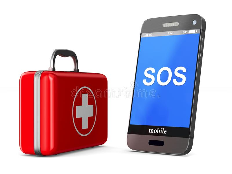 Cassetta di pronto soccorso e telefono su fondo bianco Illustr isolato 3d royalty illustrazione gratis