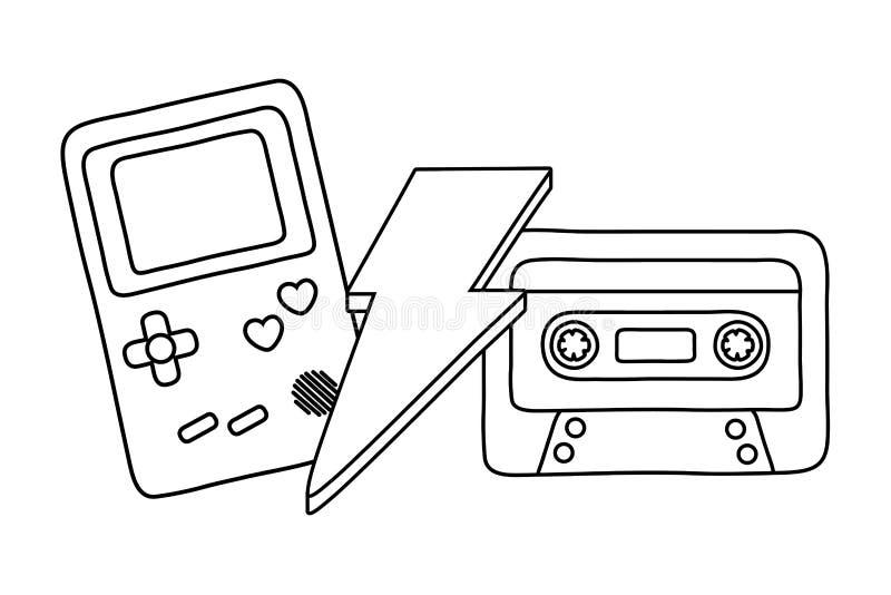 Cassetta e illuminazione del ragazzo del gioco in bianco e nero royalty illustrazione gratis