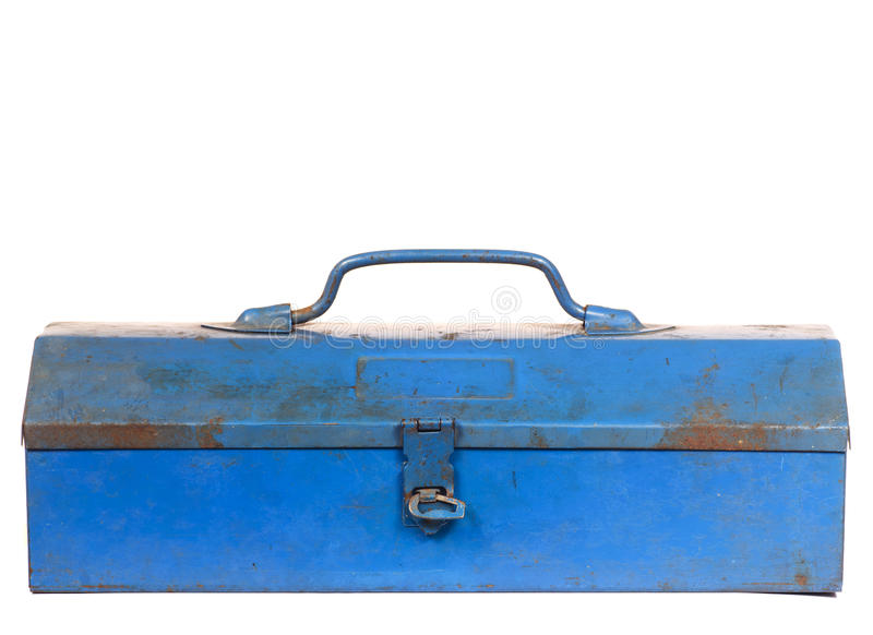 Cassetta portautensili d'acciaio blu arrugginita d'annata isolata fotografia stock libera da diritti