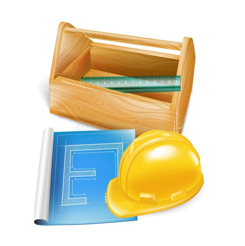 Cassetta portautensili di legno con il casco, lo schizzo della costruzione e l'iso del righello illustrazione vettoriale