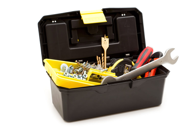 Cassetta portautensili e strumenti di plastica fotografia stock