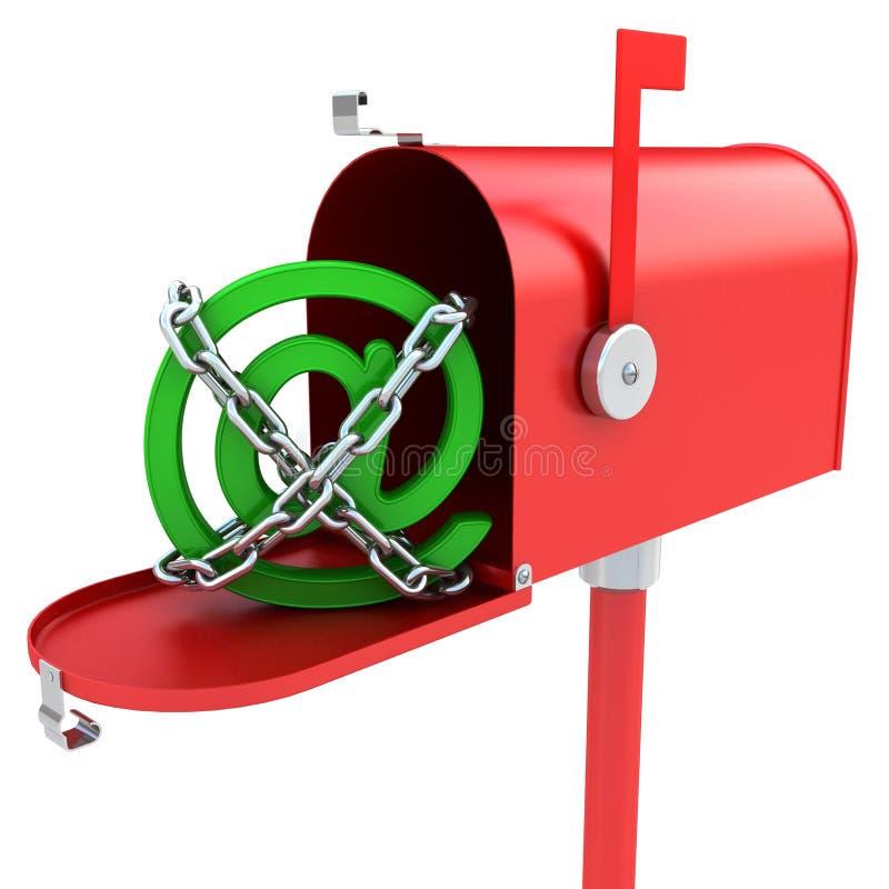Cassetta postale con il marchio del email all'interno immagini stock