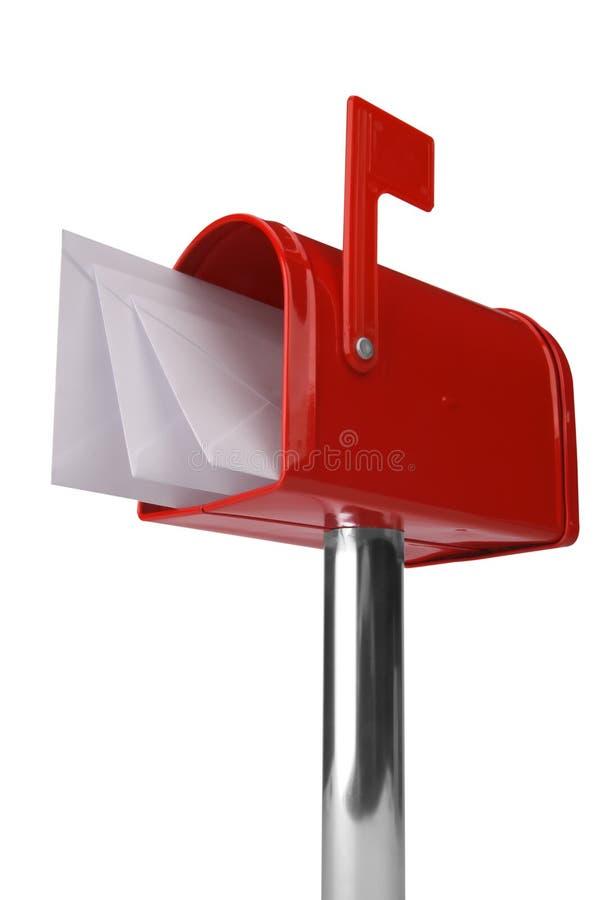 Cassetta postale con la bandierina immagini stock