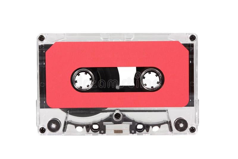 Cassette audio rojo de la vendimia con el camino de recortes fotografía de archivo libre de regalías