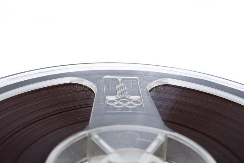 Cassette audio viejo aislado sobre el fondo blanco imagen de archivo