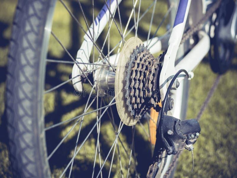 Cassette de emballage arrière de vélo sur la roue avec la chaîne photos stock