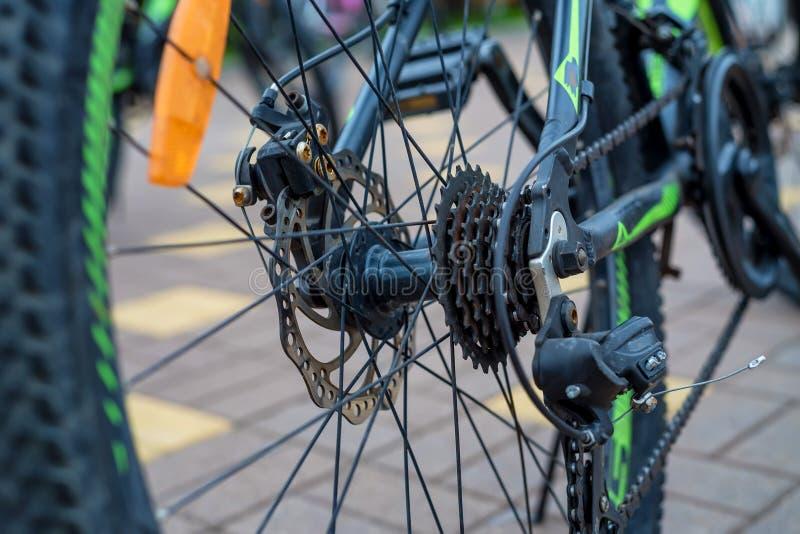 Cassette de roue arrière de vélo de montagne image stock