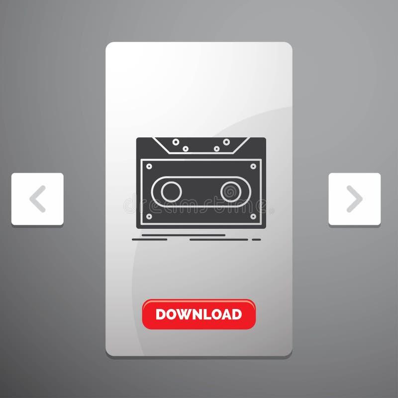 Cassette, demo, record, tape, record Glyph Icon in Carousal Pagination Slider Design & Red Download Button vector illustration