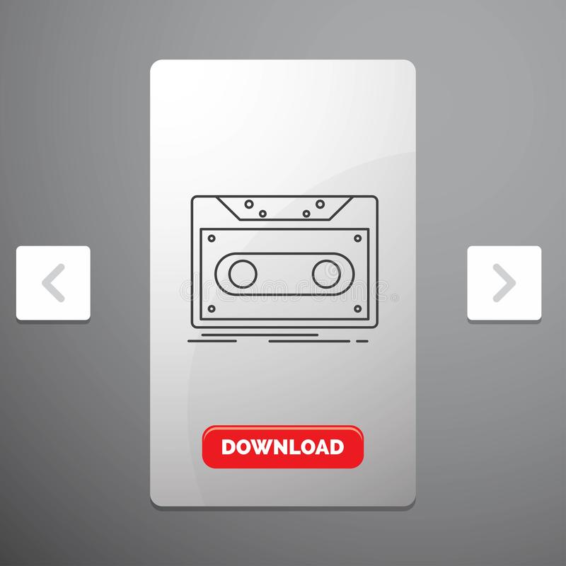 Cassette, demo, record, tape, record Line Icon in Carousal Pagination Slider Design & Red Download Button. Vector EPS10 Abstract Template background stock illustration