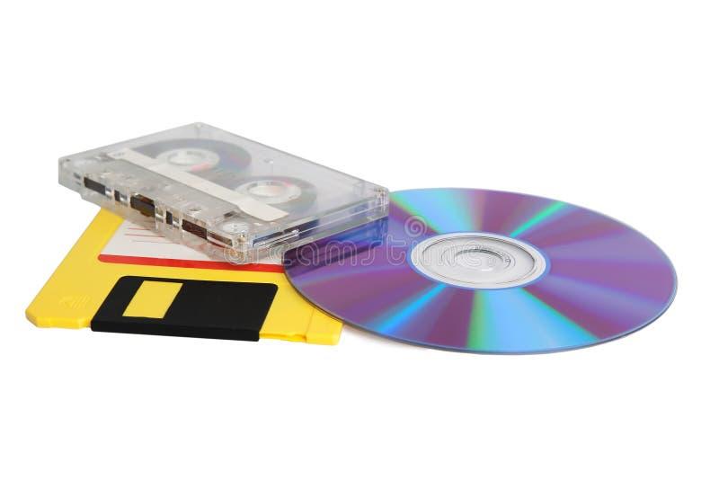 Cassette, disco blando y compact-disc fotos de archivo libres de regalías