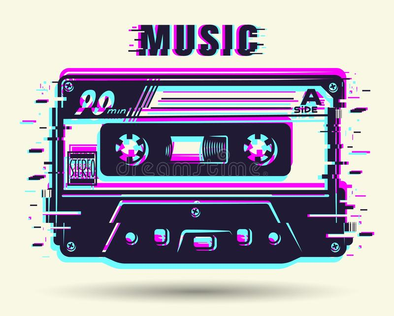 Cassette with glitch effect. Isolated on white. Vector illustration stock illustration