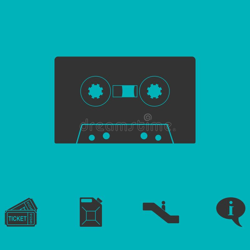 Cassette icon flat. Simple vector symbol and bonus icon vector illustration