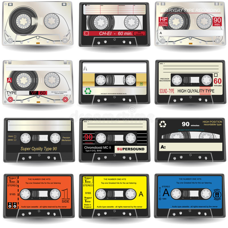 Cassette Icons. Vector illustration of nine different colored cassette tapes, isolated on white background