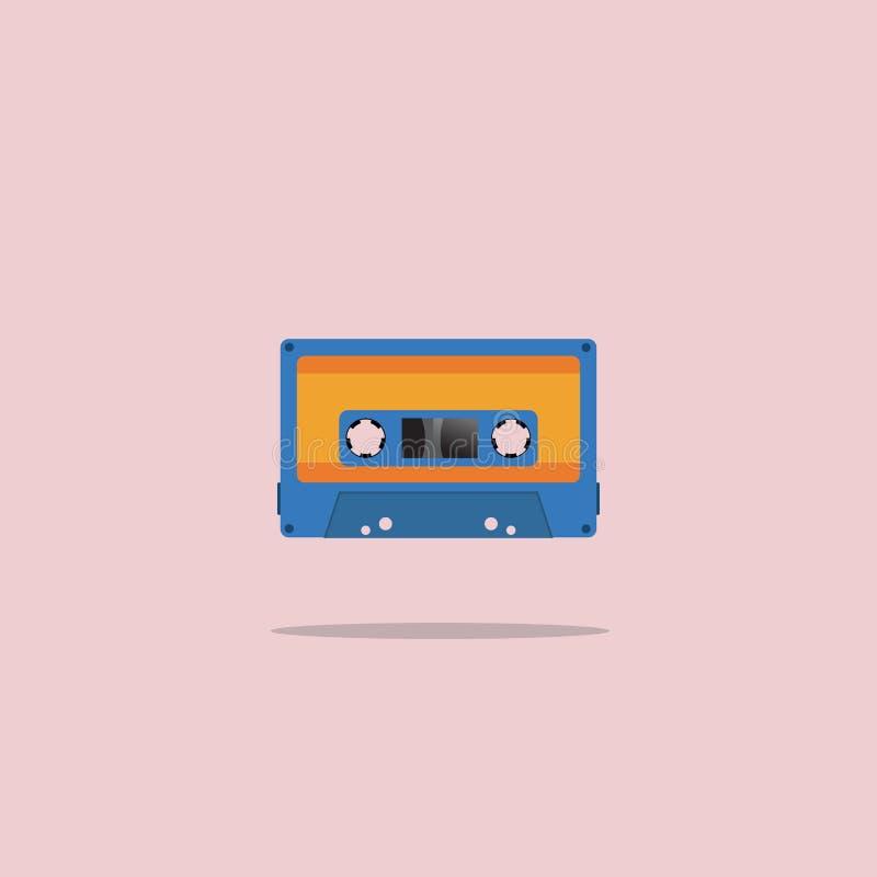 Cassette oude die band in een vlakke stijl wordt geschilderd Vector illustratie royalty-vrije illustratie