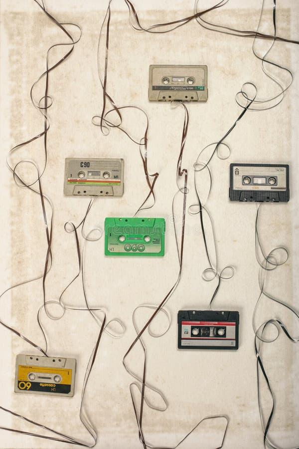 Cassette sonore de cru avec l'abrégé sur natro, concept obsolète de technologie image libre de droits