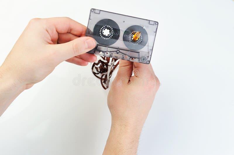 Cassette sonore de rebobinage avec la bande images libres de droits