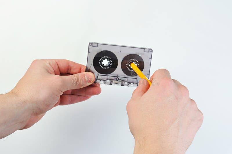 Cassette sonore de rebobinage avec la bande photo libre de droits