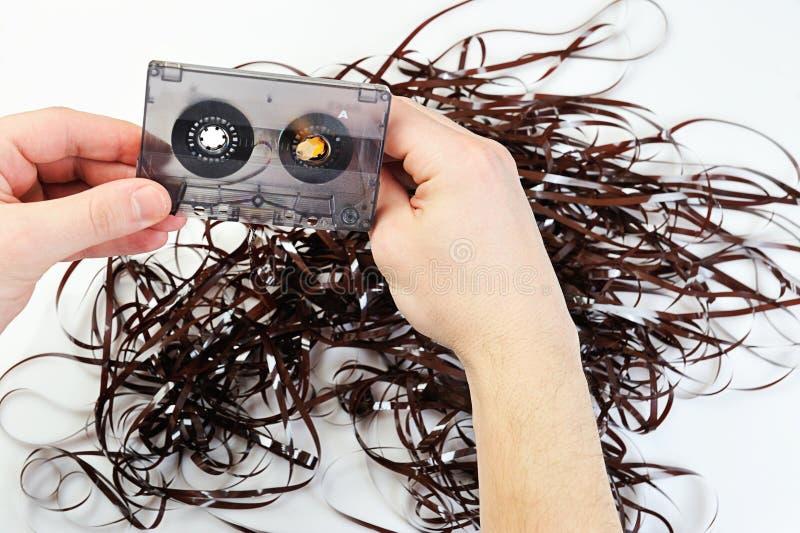Cassette sonore de rebobinage avec la bande image libre de droits