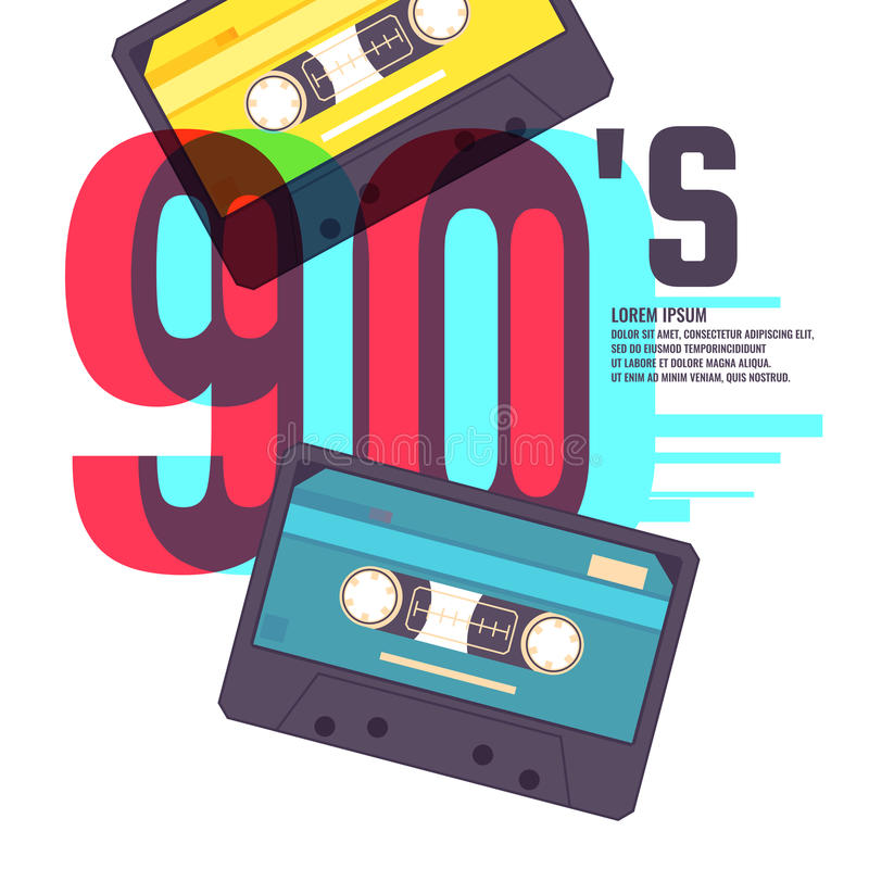 Cassette sonore sur le fond rouge Rétro musique 90s illustration de vecteur
