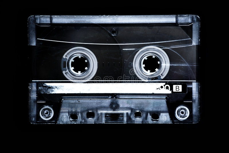 Cassette tape. Isolated on black stock images