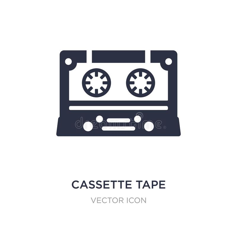 cassette tape icon on white background. Simple element illustration from Technology concept royalty free illustration