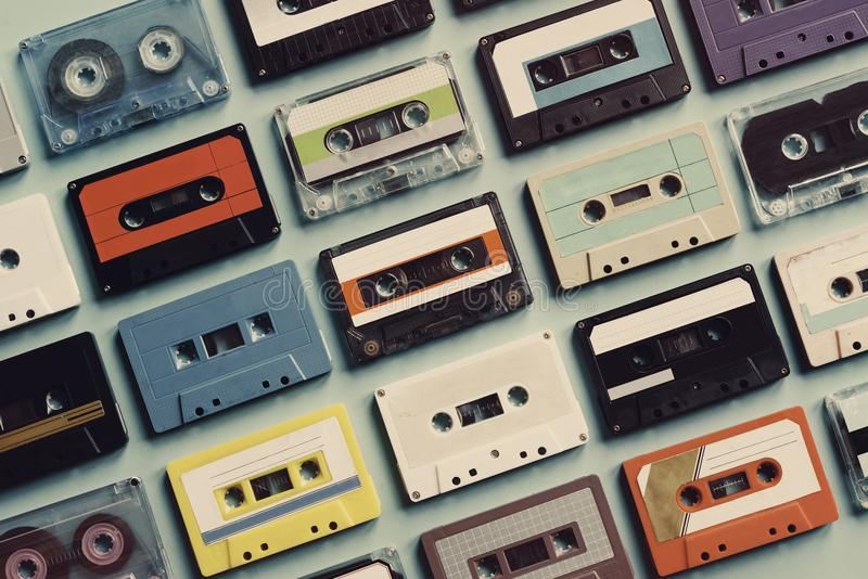 Cassette tape vintage style collection royalty free stock photos