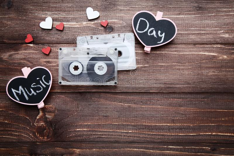 Cassette tapes with hearts royalty free stock images