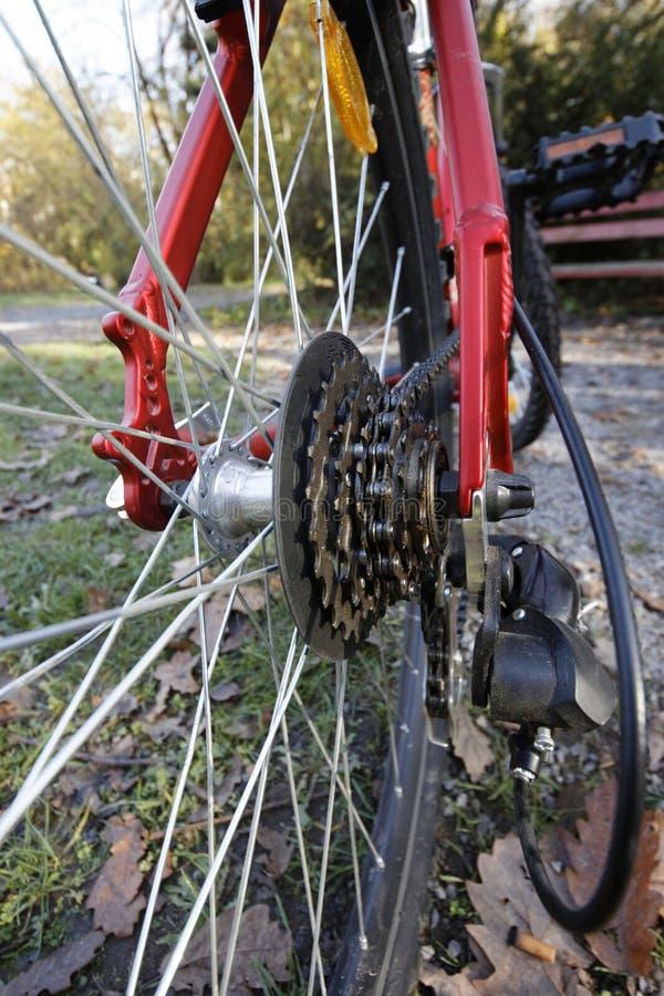 Cassette trasero de la bici de montaña foto de archivo libre de regalías
