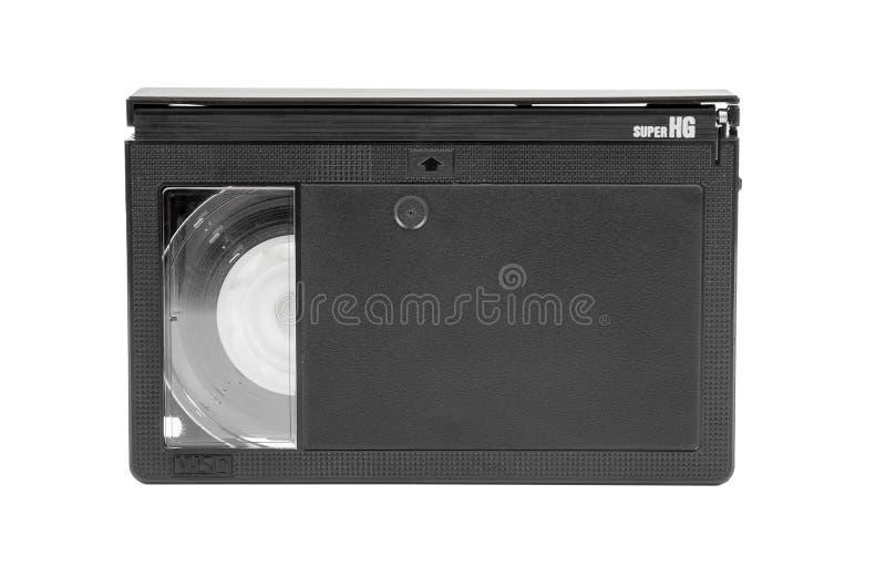 Cassette vidéo de VHS-C sur le fond blanc images libres de droits