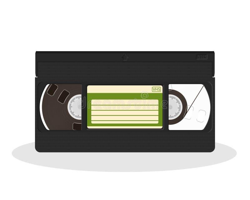 Cassette vidéo de vintage d'isolement sur un fond blanc Rétro icône de stockage de film de style illustration libre de droits
