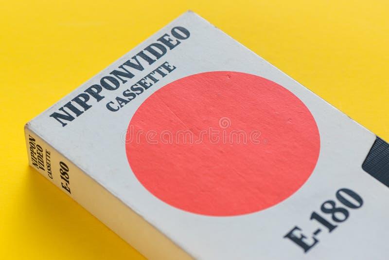Cassette vidéo visuelle du Nippon VHS, rétro technologie visuelle image stock