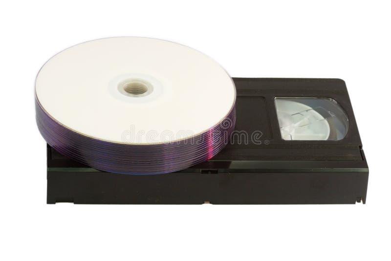 Cassette y DVD foto de archivo