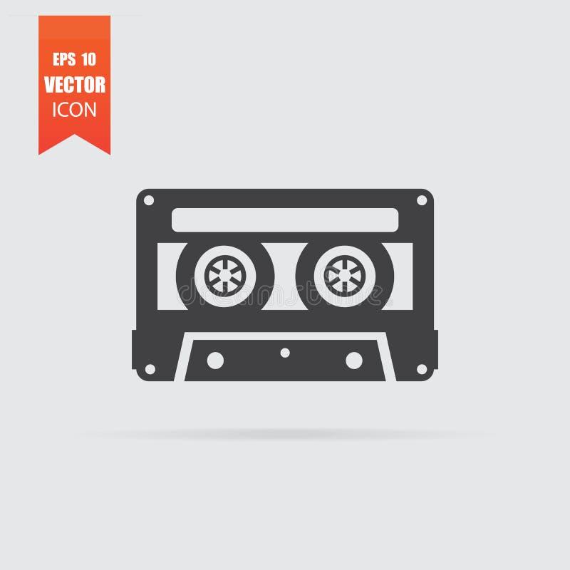 Cassettepictogram in vlakke die stijl op grijze achtergrond wordt geïsoleerd royalty-vrije illustratie