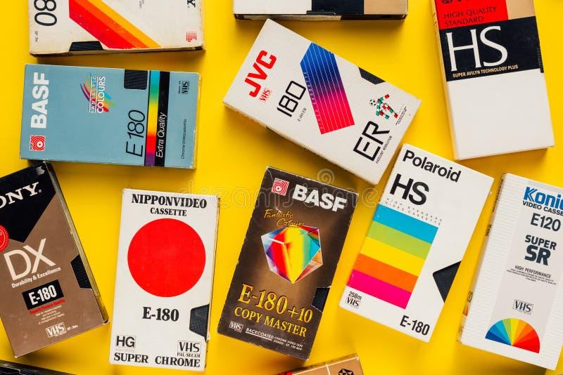 Cassettes vidéo de VHS, rétro technologie visuelle photo libre de droits