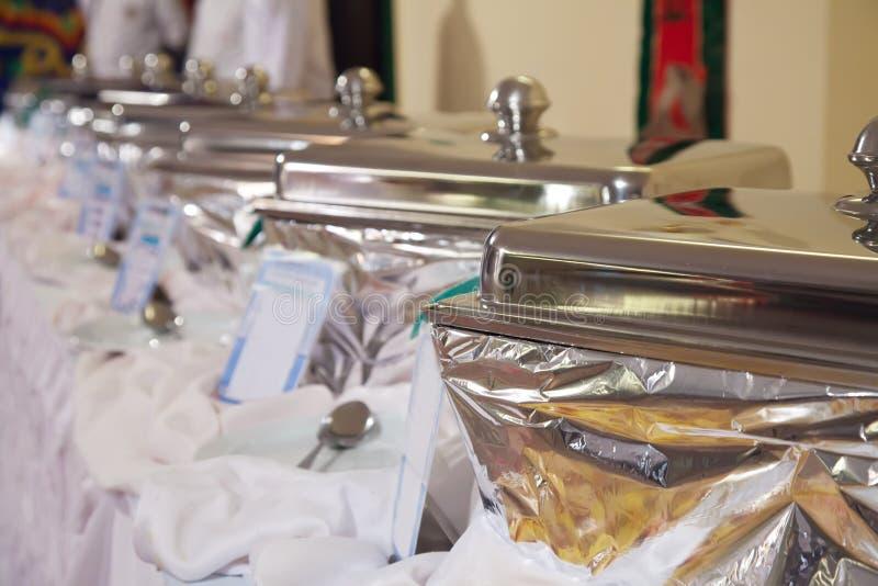 Cassetti heated del buffet fotografia stock libera da diritti