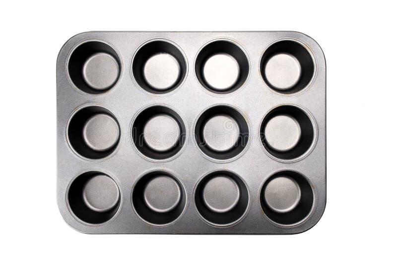 Cassetto del muffin isolato sullo sfondo bianco con percorso di selezione fotografie stock libere da diritti