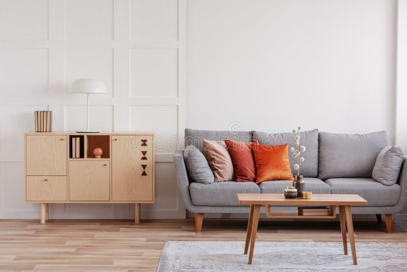 Cassettone di legno d'annata accanto al sofà scandinavo grigio con i cuscini fotografie stock libere da diritti