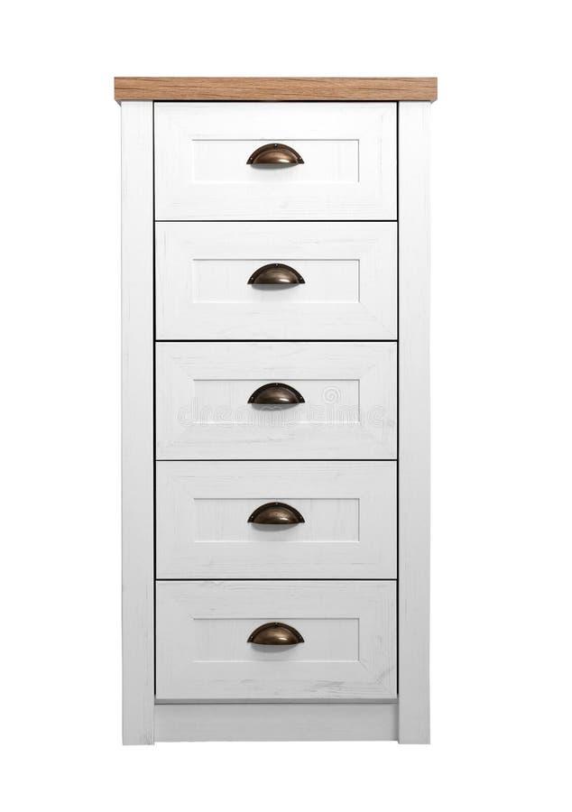 Cassettone di legno leggero moderno isolato su bianco fotografia stock libera da diritti