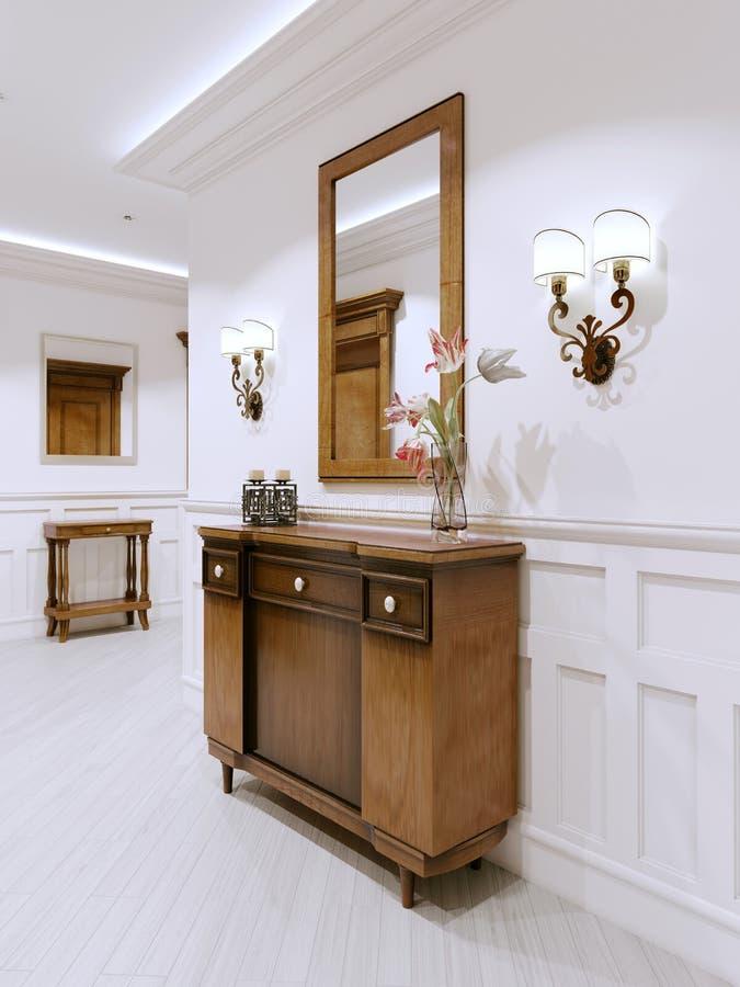 Cassettone di legno in un corridoio classico di stile C interna royalty illustrazione gratis