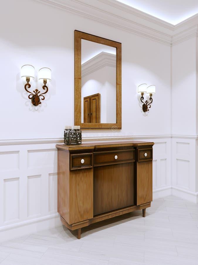 Cassettone di legno in un corridoio classico di stile C interna illustrazione di stock