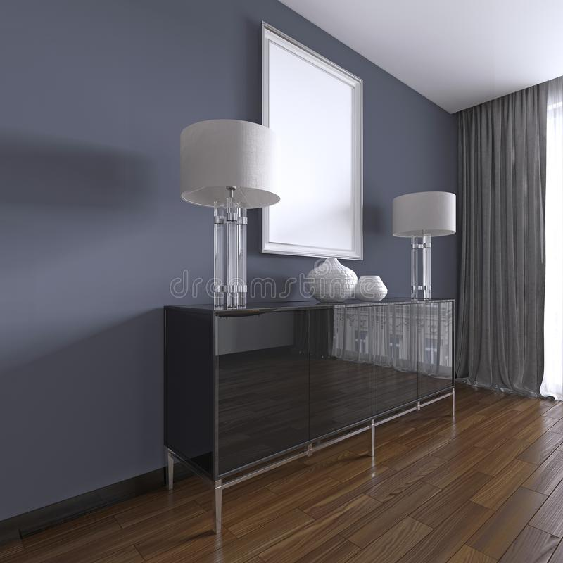 Cassettone nero con le lampade da tavolo e un'immagine nel telaio bianco illustrazione di stock