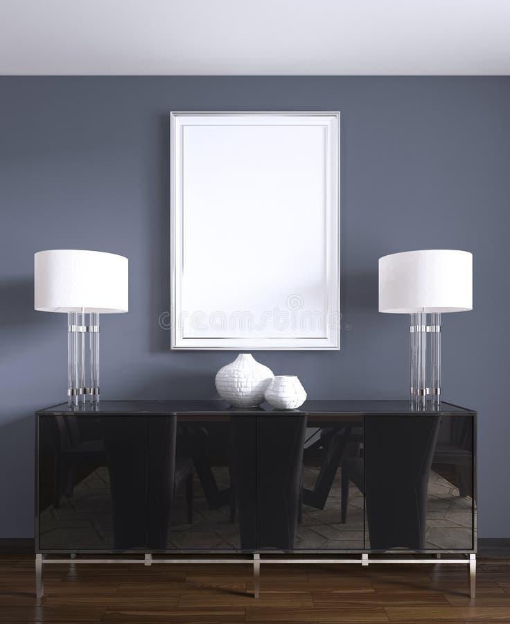 Cassettone nero con le lampade da tavolo e un'immagine nel telaio bianco illustrazione vettoriale