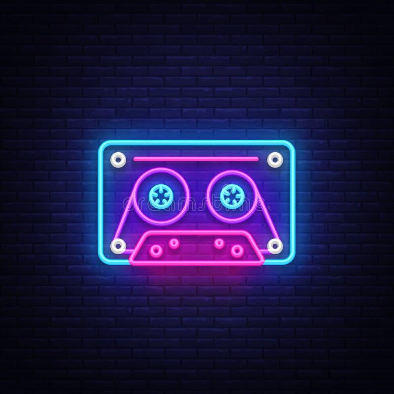 Cassetts dla taśma pisaka neonowego znaka wektoru Retro Muzycznego projekta szablonu neonowy znak, Retro styl 80-90s, świętowanie ilustracji