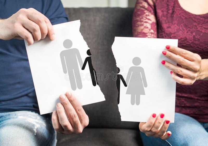 Cassez, le divorce, garde partagée des enfants photos libres de droits