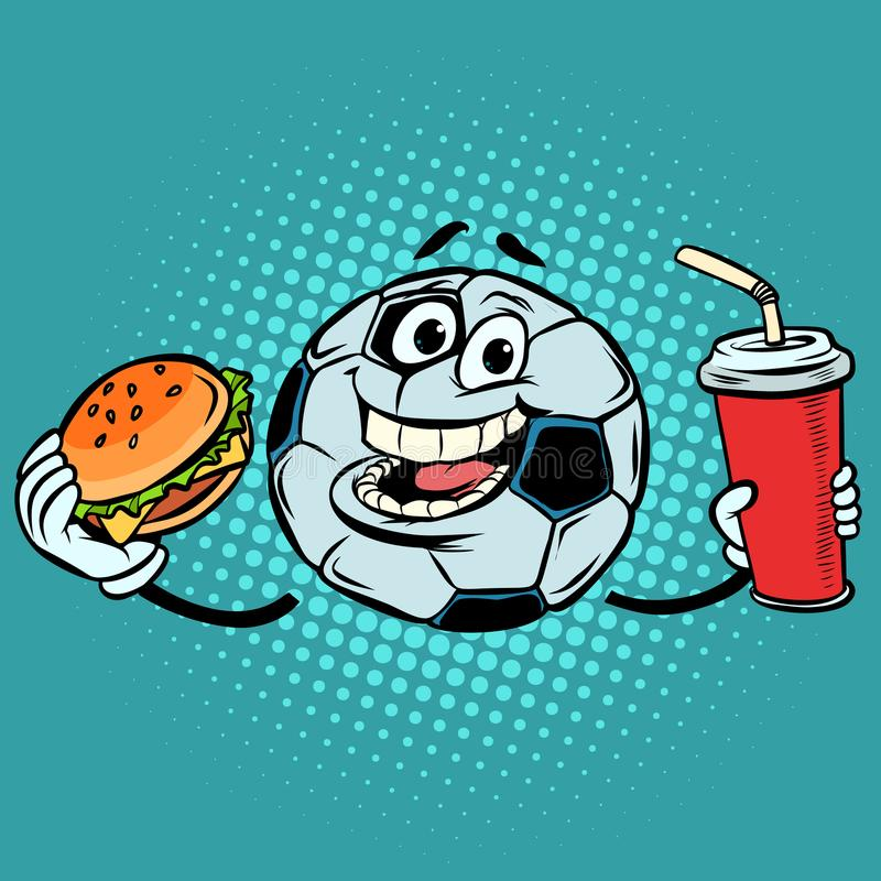 Cassez le match Kola et hamburger d'aliments de préparation rapide Ballon de football du football illustration stock