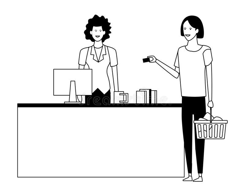 Cassiere e clienti del supermercato con i sacchetti della spesa in bianco e nero illustrazione vettoriale