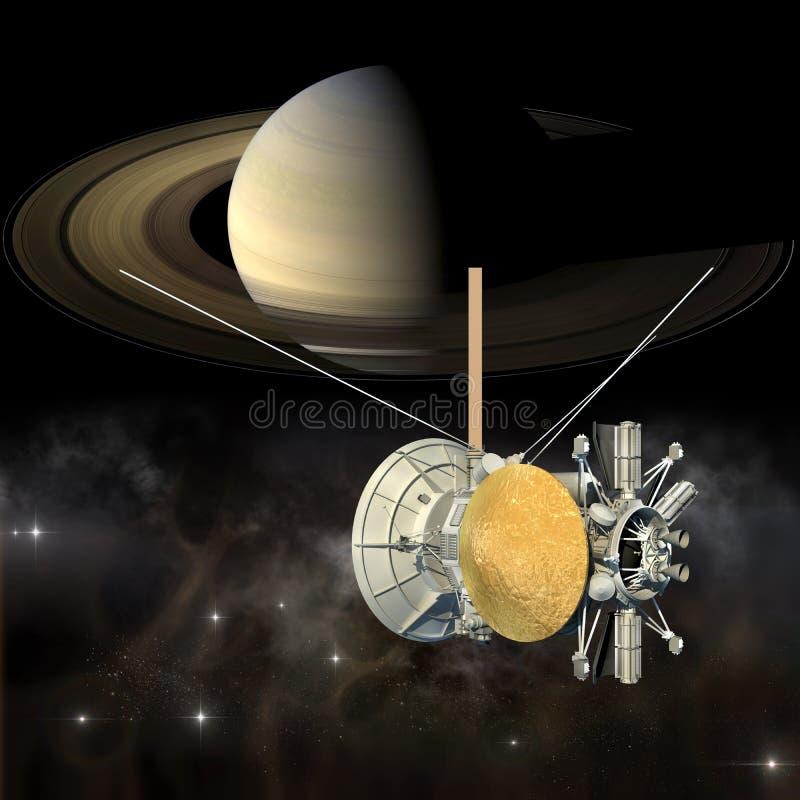 Cassini mission orbiter closing Saturn vector illustration
