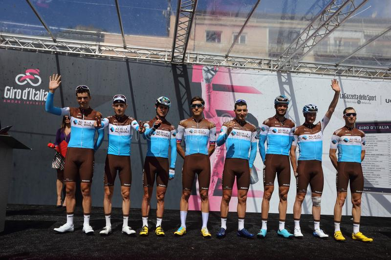 Ag2r La Mondiale team on the podium of the sixth stage of the 102th Tour of Italy Cassino-San stock photos