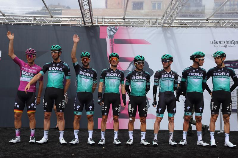 Cassino, Italy - May 16, 2019: The Bora Hansgrohe team on the podium of the sixth stage of the 102th Tour of Italy Cassino-San royalty free stock image