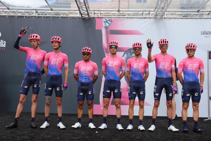 Cassino, Italy - 16 May 2019: The EF EDUCATION FIRST team on the podium of the sixth stage of the 102th Tour of Italy Cassino-San royalty free stock image